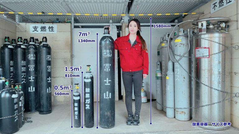 酸素容器 サイズ参考画像
